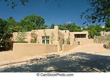 Exterior of a Modern Adobe Santa Fe, New Mexico Home