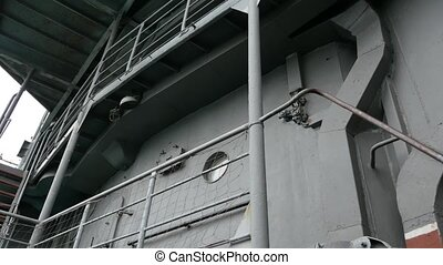 exterior of an artillery cruiser. fire support ship with anti-aircraft and automatic mounts.