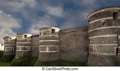 Exterior of Angers Castle, Angers city, Maine-et-Loire, France