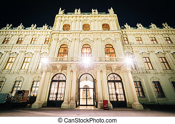 Exterior of Belvedere Palace at night, in Vienna, Austria.