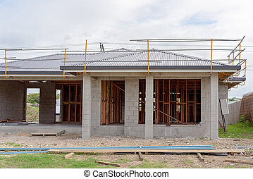 Exterior Of Block Brick Home Under Construction