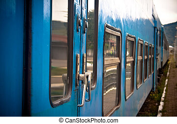 Exterior of blue train - Side view of a inter city train...