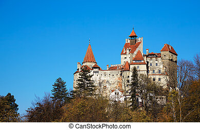 Bran Castle - Exterior of Bran Castle in Romania in autumn...