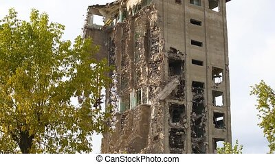 Exterior of broken desolate building - Exterior of damaged ...