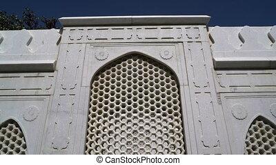 Exterior of facade of Babur's tomb in the Gardens of Babur -...
