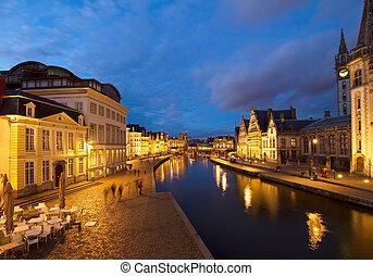 Graslei harbor at night, Ghent
