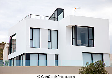 Exterior of Modern White House Resembling Cubes