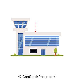 Exterior of public city airport with tower control room a vector illustration