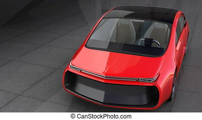 Exterior of red electric car