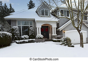 Exterior of residential home during winter
