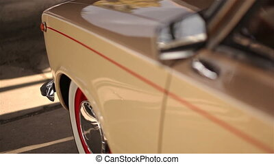 Exterior of russian restored beige old car