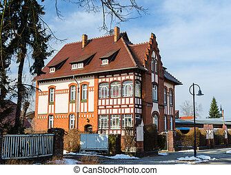 Exterior of splendid traditional european family villa