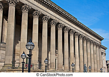 Exterior of St Georges Hall, Liverpool, UK.