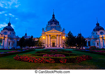 exterior of the famous bath Szechenyi Fuerdo in Budapest