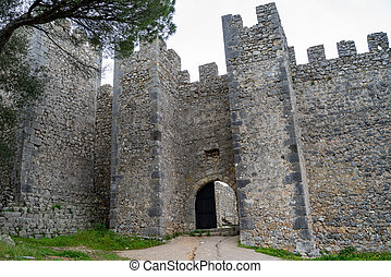 Exterior of the ruins of Sesimbra Castle in Portugal