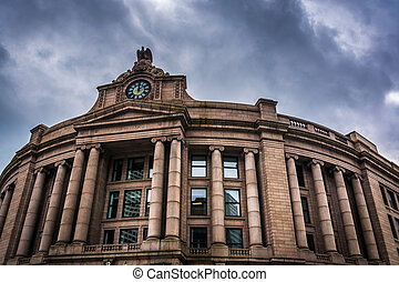 Exterior of the South Station, in Boston, Massachusetts.