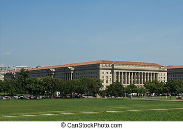 Exterior of the US Herbert Hoover Building, Department of Commerce in Washington DC as seen from the Washington Monument