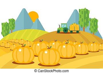 exterior, remolque, fruits, tractor, conjunto, cosechado, ...