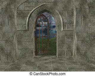 exterior, santuario, plano de fondo