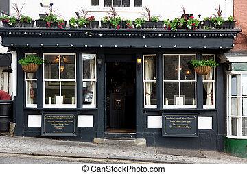 exterior, skud, i, en, klassisk, gamle, pub, ind, london,...