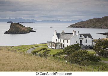 exterior, skye, escocia, hotel, tulm, mirar, bahía,...