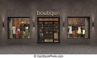exterior, tienda, ilustración, 3d