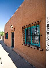 Exterior View of Adobe Home Santa Fe, New Mexico