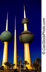 Exterior view to fresh water reservoir aka Kuwait Towers, Kuwait