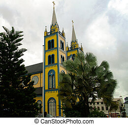 Exterior view to Saint Peter and Paul Cathedral, Paramaribo, Suriname