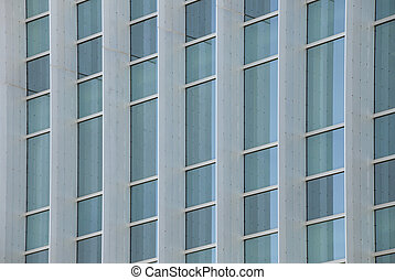 Exterior windows of a modern commercial office building