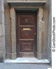 Exterior wooden door of a house