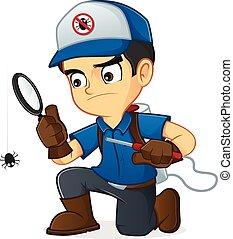 exterminador, procurar, para, bugs, e, matança, lhes