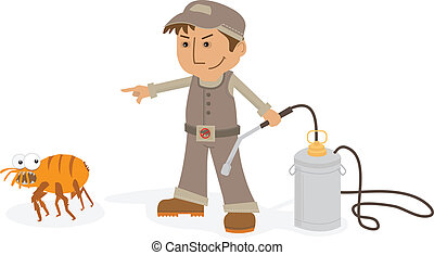 Exterminator - A cartoon image of an exterminator forcing a...