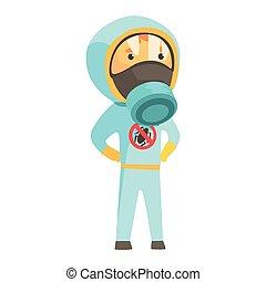 Exterminator in blue protection uniform, pest control service cartoon vector illustration