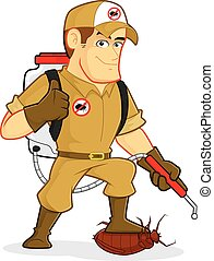 Exterminator or Pest Control - Clipart picture of an...
