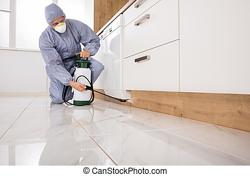 Exterminator Spraying Pesticide In Kitchen - Exterminator In...
