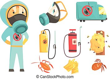 Exterminators of insects in chemical protective suit with equipment and products set. Pest control service cartoon colorful Illustrations isolated on white background