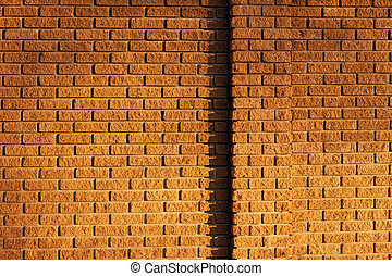 External brick wall with a stripe