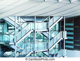 external fire escapes of a modern building
