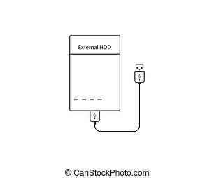 External hard disk drive icon. Vector illustration, flat design.