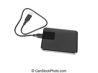 External hard disk drive on white background . - External...