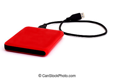 External Hard Drive - External usb hard drive isolated on...
