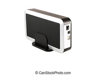 External HDD enclosure SATA - Computer hard drive, isolated...