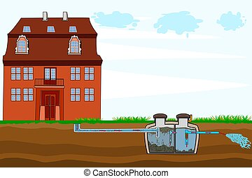 Septic system and drain field scheme. An underground septic tank illustration. Domestic wastewater infographic with text descriptions. Stock vector