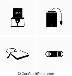External portable storage devices - Vector
