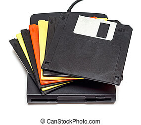 External usb floppy disk drive with disks