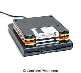 External usb floppy disk drive with disks isolated