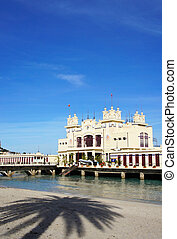 External view of a Liberty Building on the sea at Mondello beach of Palermo in Sicily