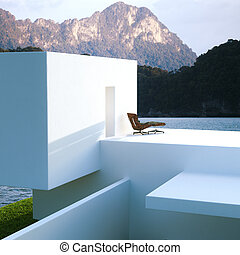 External view of a modern house contemporary villa on mountain and ocean background. 3D render