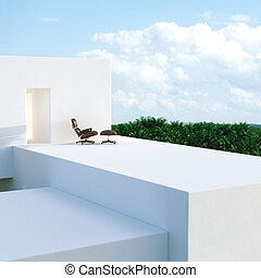 External view of a modern house contemporary villa on tropic jungle background. 3D render